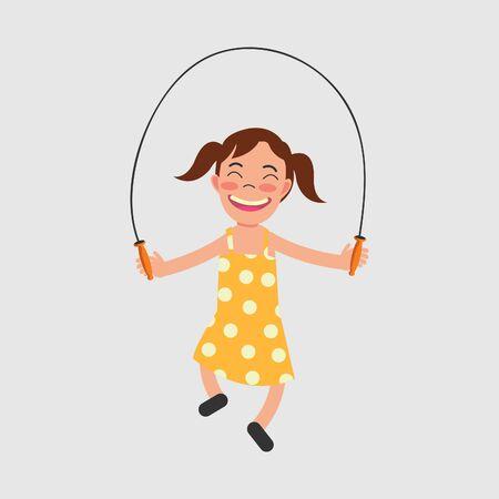 girls playing jump rope vector illustration. sport cartoon character.  イラスト・ベクター素材