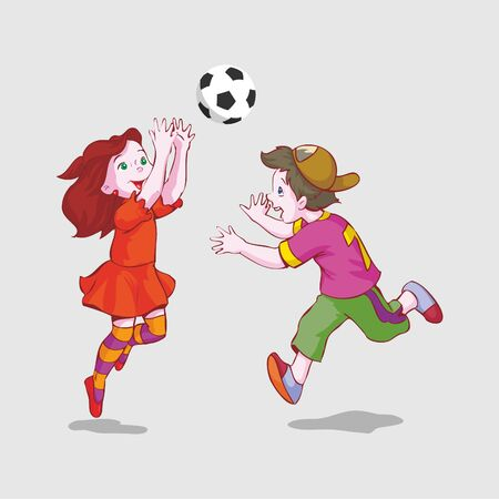 Boys and girls playing soccer vector illustration. sport cartoon character.