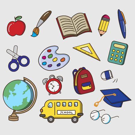 Set of children stationery cartoon vector. school stanionery  cartoon character.