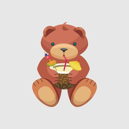 teddy bear drink coconut vector illustration