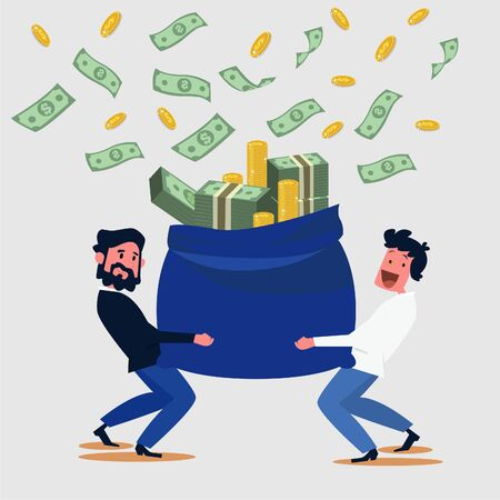 Business success concept background men sack money icons