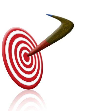 aerodynamics: Boomerang and Target Stock Photo