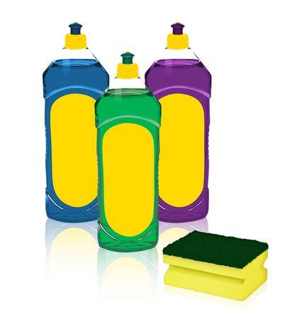 dish washing: dish washing sponge and detergent
