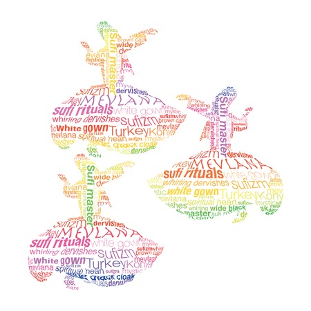 sufism: Whirling dervish was created with typographic design Illustration