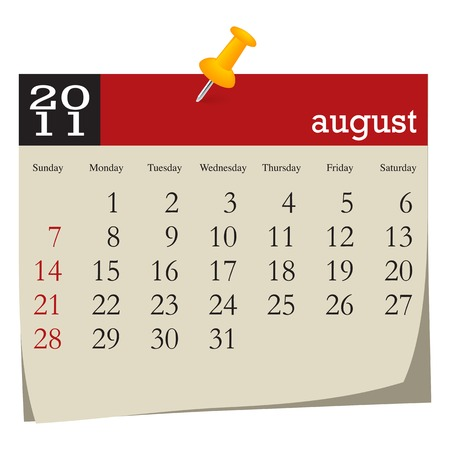Calendar-august 2011. Week starts sunday Illustration
