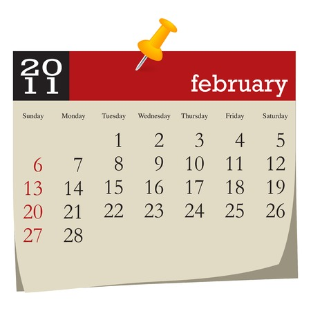 Calendar-february 2011. Week starts sunday Vector
