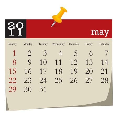 Calendar-may 2011. Week starts sunday Vector