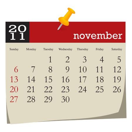 Calendar-november 2011. Week starts sunday