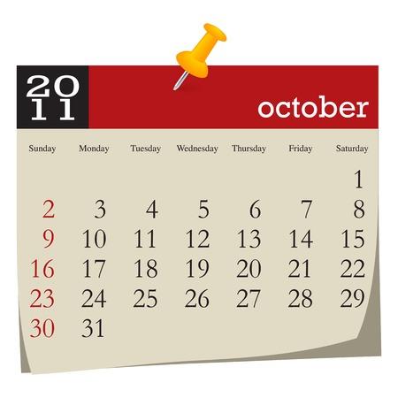Calendar-october 2011. Week starts sunday Vector