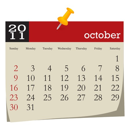 Calendar-october 2011. Week starts sunday