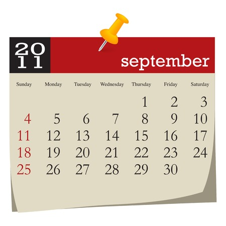 Calendar-september 2011. Week starts sunday Vector