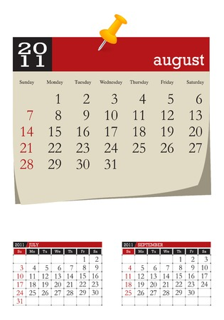 three-month desk calendar,august 2011. Week starts sunday Illustration