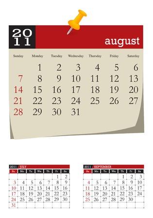 three-month desk calendar,august 2011. Week starts sunday Illustration