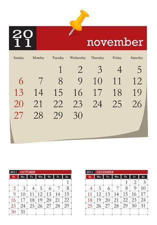 three-month desk calendar,november 2011. Week starts sunday Vector