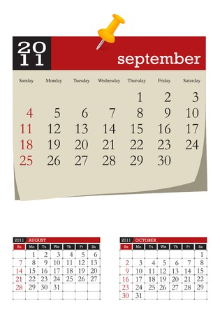 three-month desk calendar,september 2011. Week starts sunday Stock Vector - 8138916