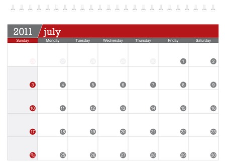 Calendar-july 2011. Week starts sunday Stock Vector - 8138923