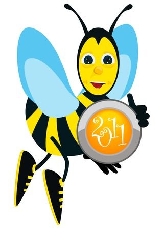 New year button and bee Vector