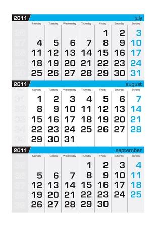 Calendario de tres meses, agosto de 2011. La semana empieza el lunes  Foto de archivo - 8138950
