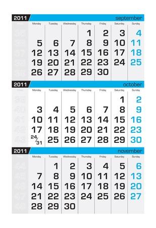 Three-month calendar,october 2011. Week starts monday Stock Vector - 8138948