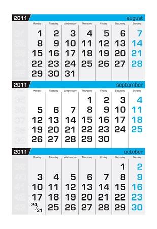 Three-month calendar,september 2011. Week starts monday Stock Vector - 8138949
