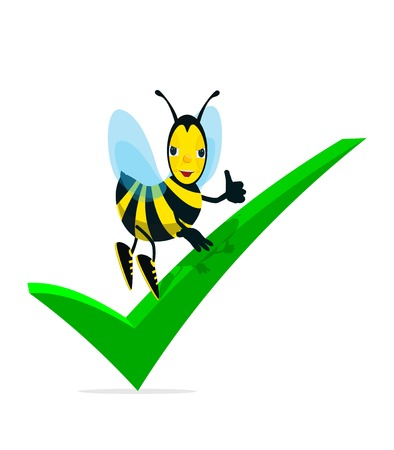 digitally generated image: Bee and Check Mark Illustration