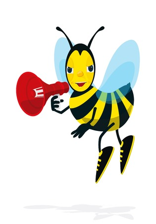 an announcement message: Bee speaks in megaphone