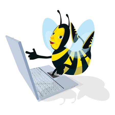 Honeybee and laptop
