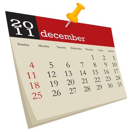 December 2011, week starts sunday Illustration