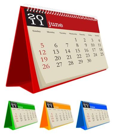 calendario da tavolo: Desk calendar giugno 2011, la settimana inizia domenica