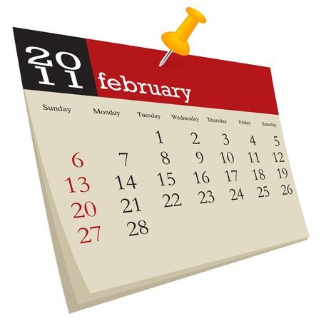 February 2011, week starts sunday Vector