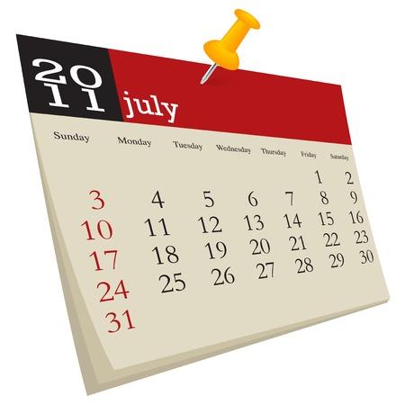 July 2011, week starts sunday Vector