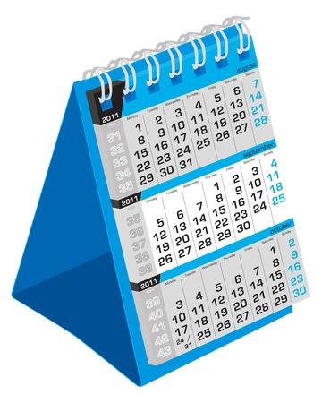 September-Desk calendar 2011, week starts Monday Illustration