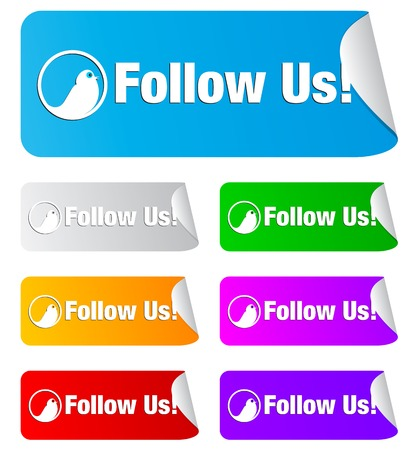 Follow us icon on the sticker Stock Vector - 8315353