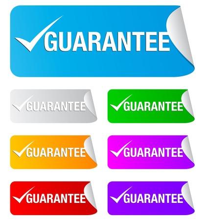 Guarantee check mark on the sticker Illustration