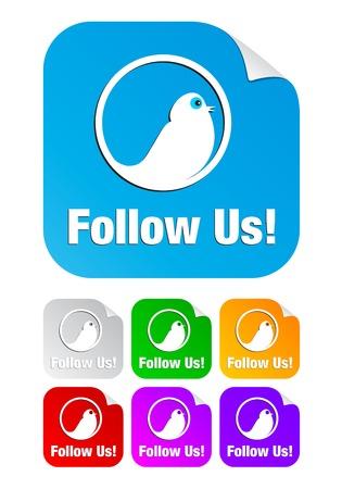 follow icon: Follow us icon on the sticker Illustration