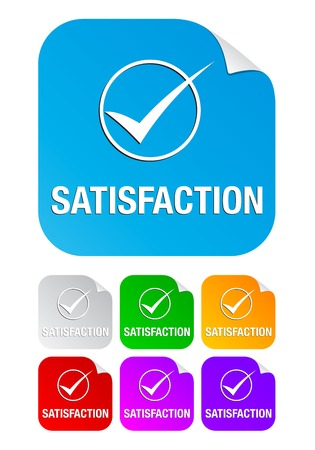 backing: Satisfaction check mark on the sticker Illustration