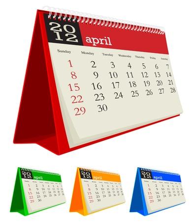 april 2012 desk calendar Illustration