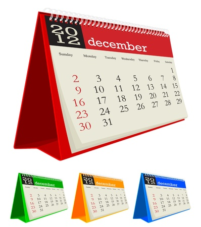 december 2012 desk calendar Stock Vector - 10619040