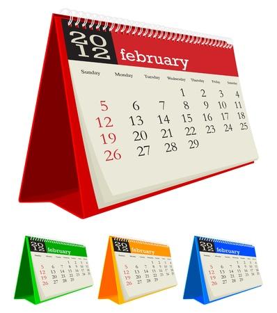 february 2012 desk calendar Vector