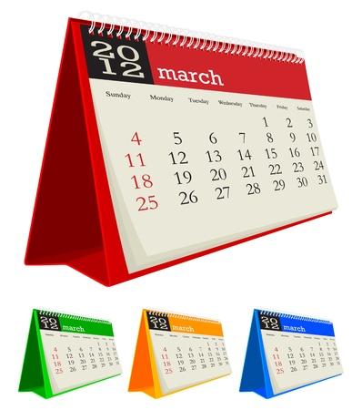 calendario da tavolo: Marzo 2012 Desk Calendar Vettoriali