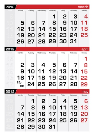 april 2012 three-month calendar Vector