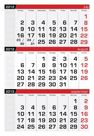agosto: Agosto 2012 tre mesi di calendario