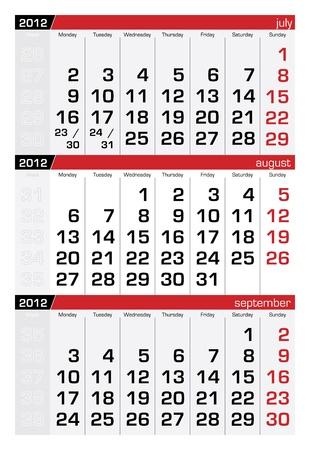 august 2012 three-month calendar Vector