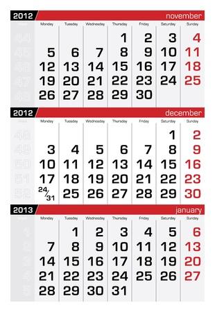 december 2012 three-month calendar Stock Vector - 10619008
