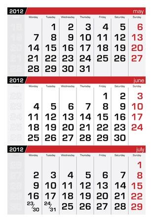 june 2012 three-month calendar Vector