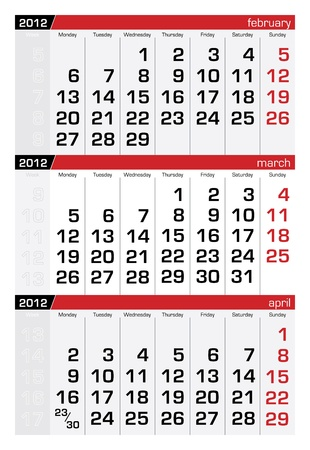 march 2012 three-month calendar Illustration