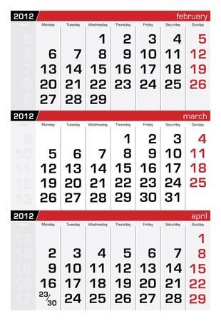mars: mars 2012 � trois mois du calendrier