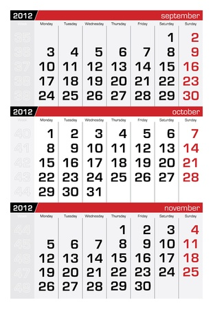 october 2012 three-month calendar Vector