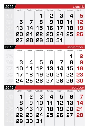 september 2012 three-month calendar Vector