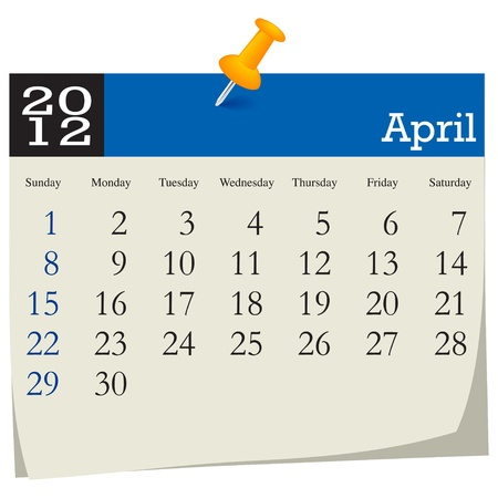 april 2012 calendar Stock Vector - 10618991
